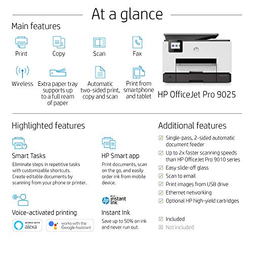 HP OfficeJet Pro 9025 All-in-One Wireless Printer, with Smart