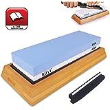 Premium Knife Sharpening Stone Kit, 2 Side 1000/6000 Grit Whetstone, Best Kitchen Blade Sharpener Stone, Non-Slip Bamboo Base and Bonus Angle Guide Included