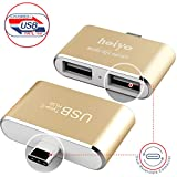Heiyo Portable USB-C Hub,Type-C Multi-port Converter with 1 USB-C Input Charging Port to 2 USB 2.0 SuperSpeed Ports Adapter for apple New MacBook ChromeBook and Other Type-C Devices-(Gold)