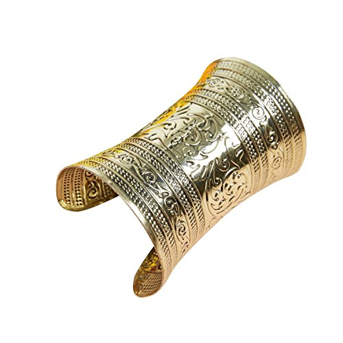 AvaCostume Bronze Tribal Gold Cuff Bracelet for Cosplay or Belly Dance 2PCS,2 -