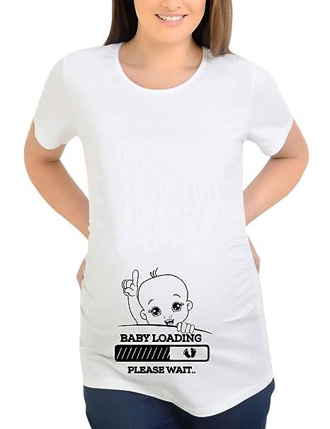 TAAMBAB Camiseta de Navidad Embarazada Poliéster Manga Corta Blanca Camiseta Blusas de Maternidad de Las Mujeres Tops con Estampado Divertido - Y045-YSTWH: ...