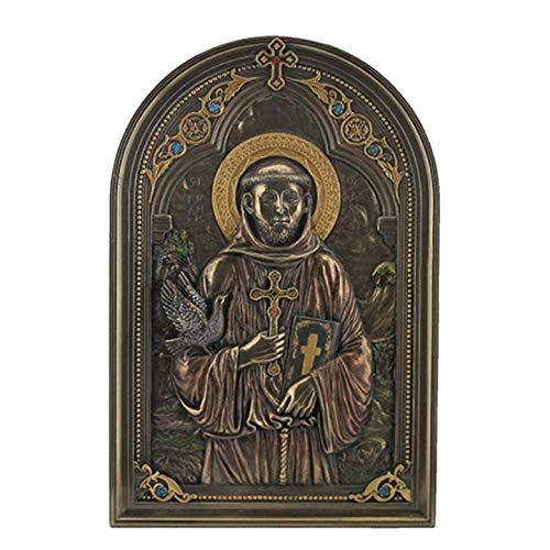 XoticBrands Iconic Style St Francis with Dove Wall Plaque - Religious - Cold Cast Bronze Sculpture