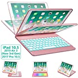 iPad Pro 10.5 Keyboard Case for iPad Pro 10.5 inch 2017 /iPad Air 10.5 (3rd Gen) 2019, 360 Rotate BT/Wireless Backlit Keyboard Case/Smart Auto Sleep-Wake Case/Ultra-Thin Keyboard Cover (Rose Gold)