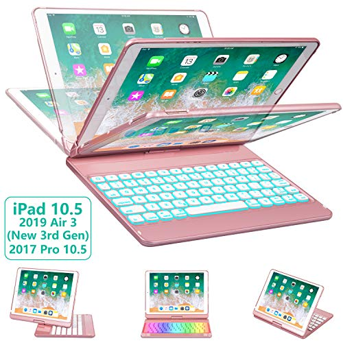 (iPad Pro 10.5 Keyboard Case for iPad Pro 10.5 inch 2017 /iPad Air 10.5 (3rd Gen) 2019, 360 Rotate BT/Wireless Backlit Keyboard Case/Smart Auto Sleep-Wake Case/Ultra-Thin Keyboard Cover (Rose Gold))