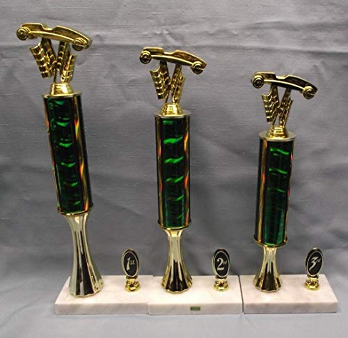 (cub Scout Trophy Set of 3 Pinewood Derby car Green Column Wide Marble Base)