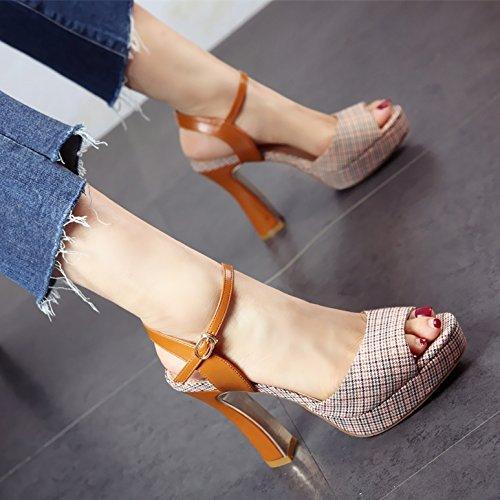 de tacón Color Zapatos Verano Áspera Coincidencia Toe YMFIE YMFIE YMFIE y Toe 7aa28a