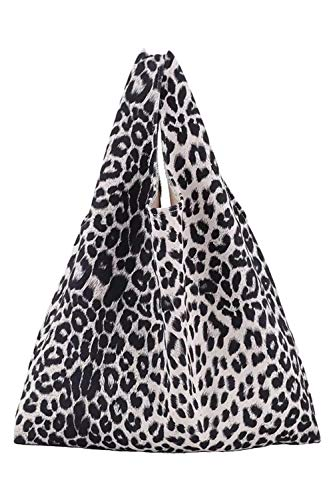 Lush Leather Leopard Printed Lightweight Ultra Suede Shopper Tote White Bag