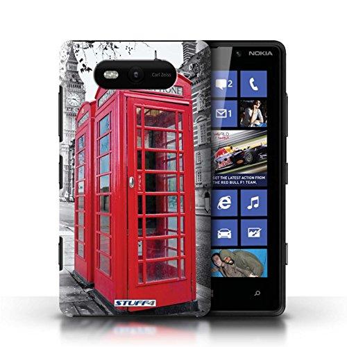 Etui / Coque pour Nokia Lumia 820 / Red Phone Box conception / Collection de Londres Angleterre