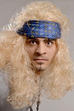 Rocker peluca RUBIA Heavy Metal Rock n Roll para hombre ...