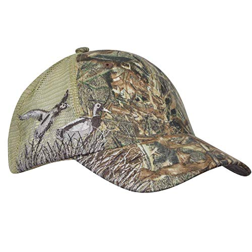 Unisex Hunting Fishing Cap Mallard Embroidery Baseball Hat with Air Mesh Back Velcro