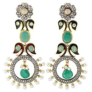 Arabella Luxuries Alloy Le Paon Victorienne Drop and Dangle Earring