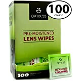 Pre-Moistened Lens Cleaning Wipes - 100 Cloths - Safely Cleans Glasses, Sunglasses, Camera Lenses, and Electronic Quickly & Efficiently - Travel - by Optix 55
