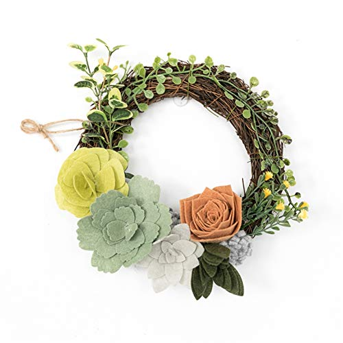 Liveinu Artificial Handmade Wreaths for Front Door with Twig Base Flowers Arrangements Wedding Table Centerpieces Wreath Garland Wool Felt Succulents and Flowers 8.5 -