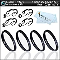 4 Pack 52mm UV Protection Filter Bundle For Canon Canon EOS M (That comes with the EF-M 18-55mm lens) T4i, T3i, T3, T2i, T1i, Xsi, XS, EOS 60D,7 D, 50D, EOS-1Ds Mark III, EOS-1D X Digital SLR That Use Canon 52mm Threaded Lenses + 4 Lens Cap Keepers