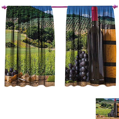 homefeel Wine Blackout Window Curtain Idyllic Tuscany Country Landscape Agriculture Harvest Grape Plantation Drapes for Living Room W72 x L63 Black Green Pale Brown