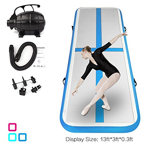 ShenCBnag Inflatable Gymnastics Air Track 9.8/13/16/19FT Length Airtrack Tumbling Mat Flooring Mat with Electric Air Pump for Gymnastic/Yoga/Water Floating/Camping Training Mat (Blue, 13.12)