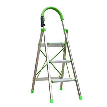 Staircase Stool TH 3 Steps Folding Ladder Thicken Aluminum Alloy Ladder  Indoor Mobile Stairs Multipurpose Engineering