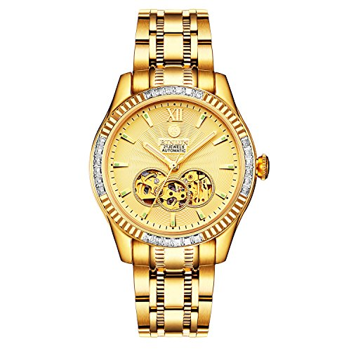 - BINLUN Men's 18K Gold-Plated Automatic Skeleton Watches Luminous Waterproof Watches for Men Diamonds ...