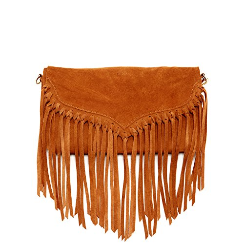 Brown Suede Fringe Crossbody Bag - 7