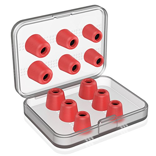 Earphone Tips New Bee 12pcs Premium Replacement Earbud Tips Blocking Out Ambient Noise Memory Foam Earbuds Inner 4.9mm for Headphones with 5mm-7mm Tips (Red, 6 Pairs, S/M/L)