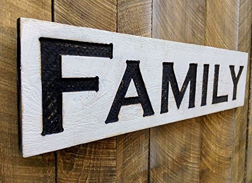 Family Sign Horizontal - Carved in a Cypress Board Rustic Distressed Kitchen Farmhouse Style Restaurant Cafe Wooden Wood Wall Art Decoration
