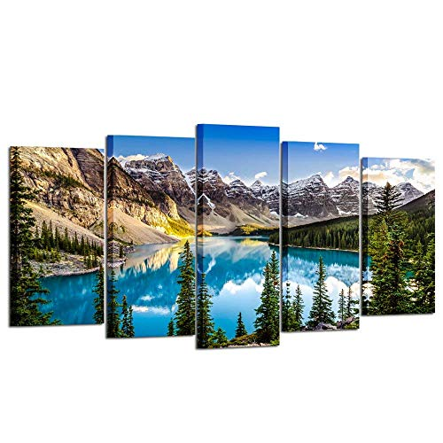 (Wall Art Canvas Panels Poster Oil Painting Print Moraine Lake Wall Art Artwork 5pcs/Set Stretched and Framed Ready to Hang Canvas Art for Home Decoration (Blue Lake Mountain) )
