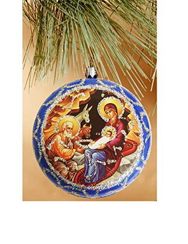 Nativity of Christ Christ Religious Christmas Ornament Decoration 4 1/2 Inch, Blue (Orthodox Ukraine Christmas)