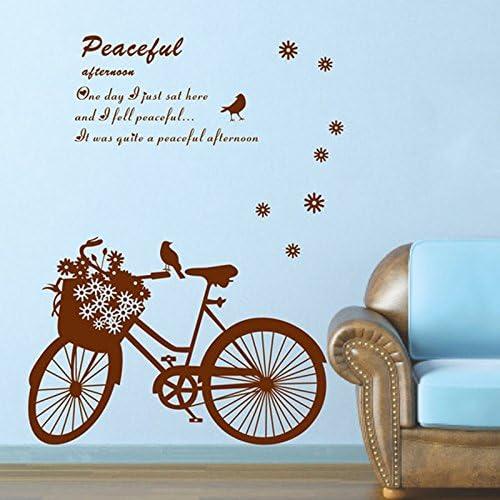 Romántico Flores, Pájaros bicicleta Inglés letras adhesivo para ...