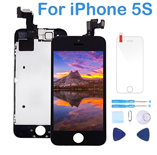 Screen Replacement Compatible with iPhone 5S Black LCD Display Touch Digitizer Frame Full Assembly Repair Kit,Attached Proximity Sensor,Ear Speaker,Front Camera,Screen Protector,Repair Tools