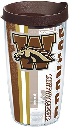 Tervis 1229795 Western Michigan Broncos College Pride Tumbler with Wrap and Brown Lid 16oz, Clear