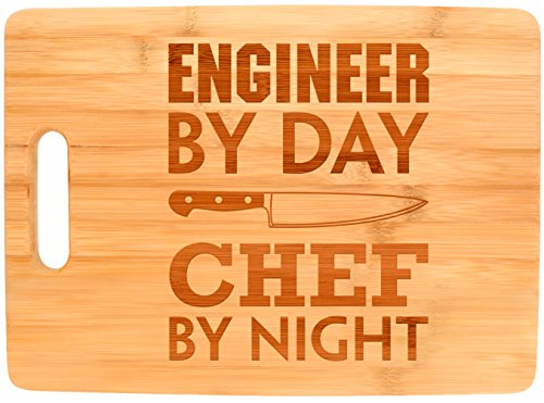 Engineering Gift Engineer By Day Chef By Night STEM Math Big Rectangle Bamboo Cutting Board Bamboo