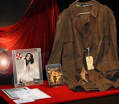 Resident Evil ZOMBIE Screen Used Prop TRENCH COAT Costume, COA, Frame Signed MILLA JOVOVICH, DVD UACC - Movie Memorabilia Props