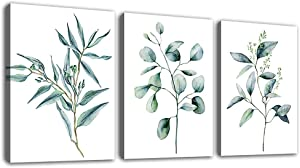"Green Leaf Wall Art Eucalyptus Plants Contemporary Wall Art Canvas Pictures Modern Botanic Artwork Framed for Bathroom Bedroom Nursery Living Room Home Office Kitchen Wall Decor 12"" x 16"" 3 Pieces"