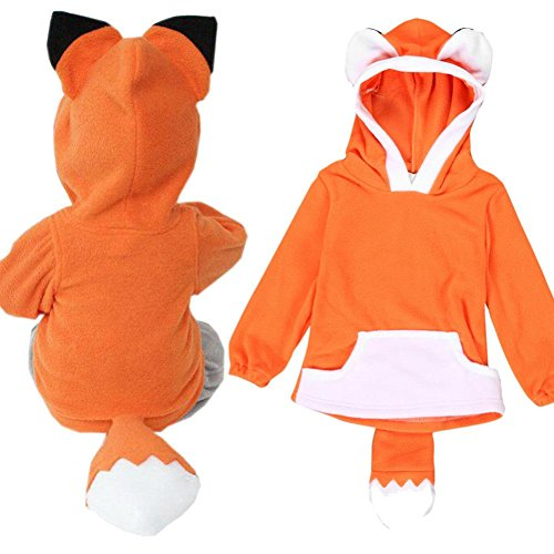 Price comparison product image Tops ,BeautyVan Child Cartoon Design Fox Baby Hooded Boy Girl Jacket Outwear Coats Kids Clothing (3T, Orange)