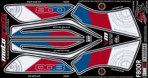 (MOTOGRAFIX (Moto graphics) body pad TANK KIT White / Blue / Red F800R (09-))