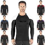 Elite Sports New Item Full Long Sleeve Compression, Mma, Bjj, No Gi, Cross Training Rash Guard, XX-Large, White