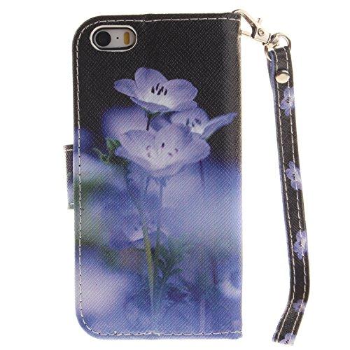 Für iphone 5 5S SE Hülle Leder ,SKYXD Blaue Blumen Muster Klapphülle PU Folio Ledertasche Schutzhülle Trageschlaufe Magnetverschluss Kartenfächer Brieftasche Standfunktion Handyhülle mit [Eule Staubst