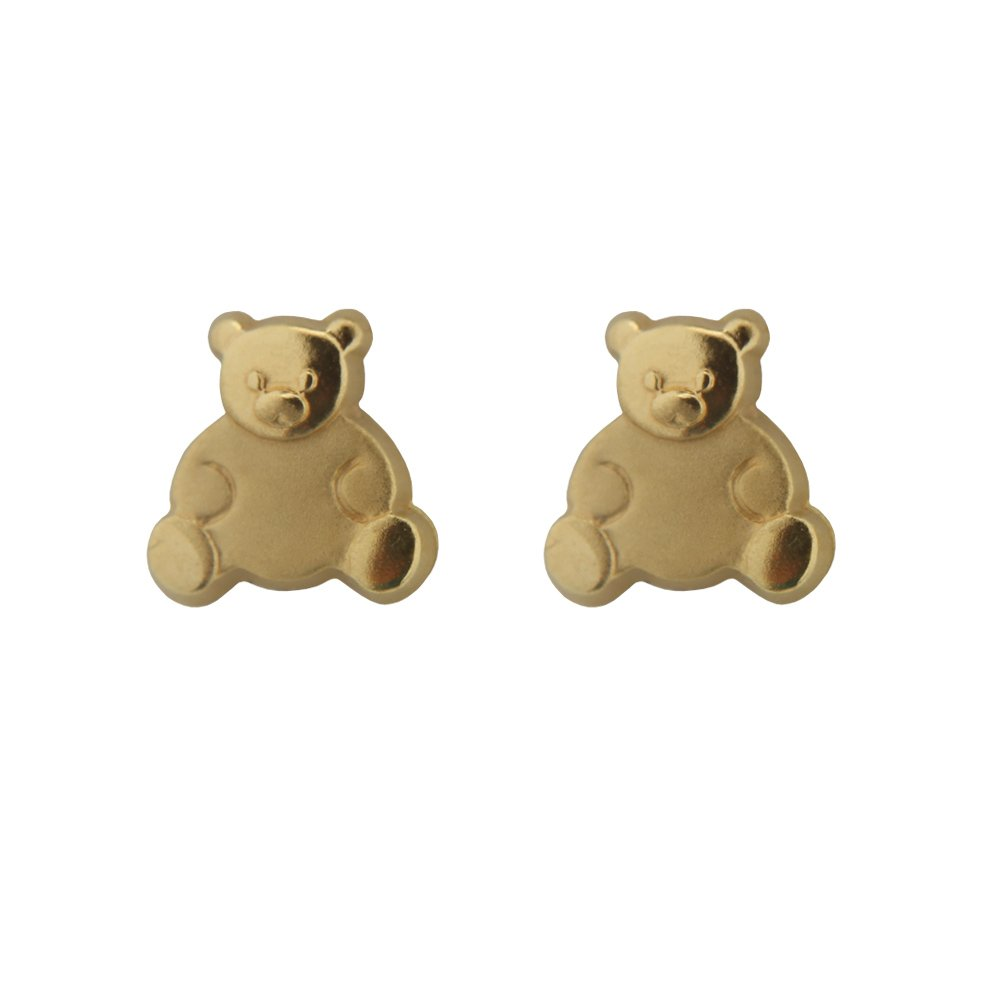 18k Yellow Gold Teddy Bear Screwback Earrings (8mm) by Amalia (Image #1)