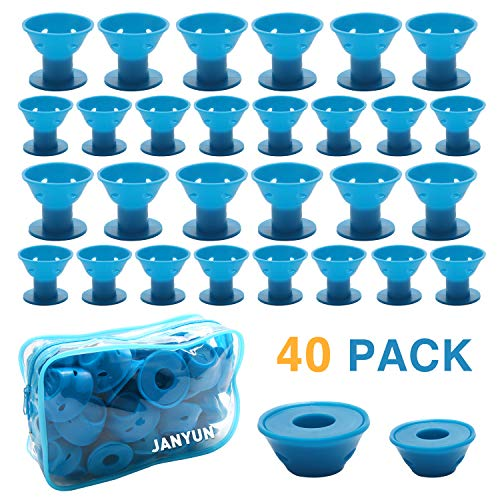 Magic Roller - JANYUN 40 Pcs Blue Magic Silicone Hair Curlers with Bag