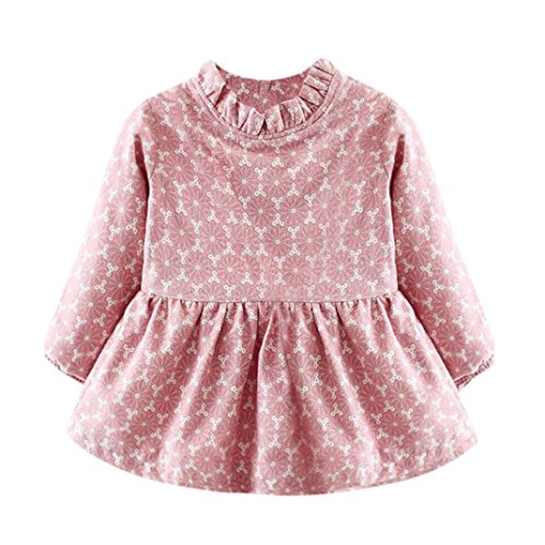 Price comparison product image HOT SALE!!Woaills 1PC Dress + 1PC Bag Clothes, Newborn Baby Girl Print Warm Long Sleeve Princess Outfits (Pink,  6M)