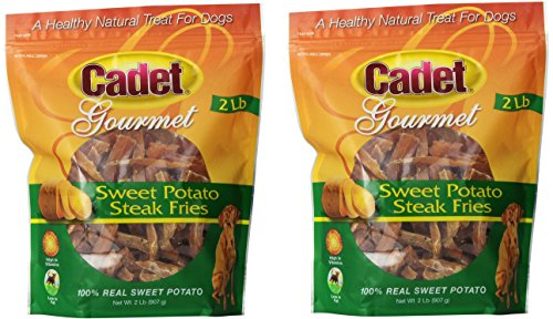 (2 Pack) Cadet Sweet Potato Steak Fries Dog Snack - 2-Pound Each