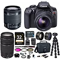 Canon EOS Rebel T6 18.0 MP DSLR Camera w/ EF-S 18-55mm IS II & EF 75-300mm III Lenses & Canon Gadget Bag & 32GB SD Card Bundle Basic Facts Review Image