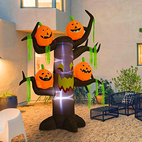Kemper King 8 Foot Halloween Inflatable Tree, Airblown Spooky Dead Tree and 4 Scary Pumpkins Lighted for Home Yard Garden Indoor and Outdoor Decoration ()