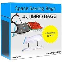 Tons of Space! 4 Jumbo Vacuum Seal Space Bags
