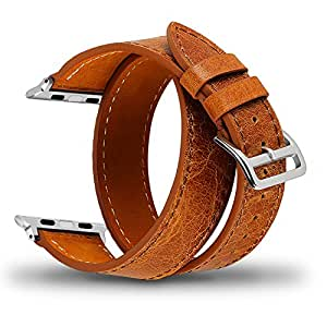 Apple Watch Band 42mm Genuine Leather iwatch Band Replacement strap with Stainless Metal Clasp for Apple Watch Series 3 Series 2 Series 1, Vintage Brown