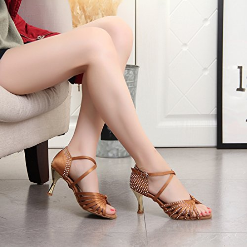 Evening Miyoopark Dance Latin Crystals Beige Women's Sandals Standard Knot Heel Shoes Fashion 7 Satin 5cm xazraX0nqw