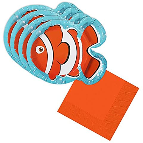 Clownfish Shaped Plate & Napkin Sets (For 32 Guests) - Flow Blue Plate
