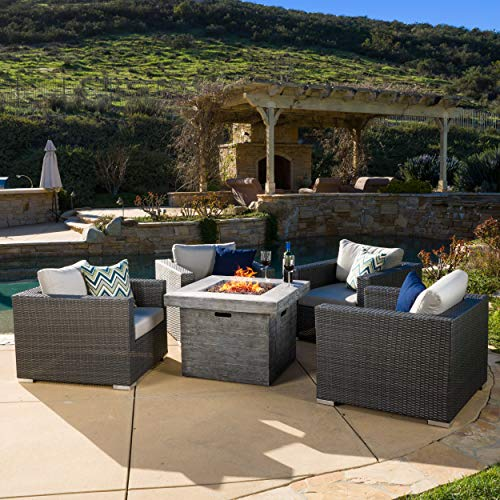 - Christopher Knight Home GDF Studio | Soleil | Outdoor 4 Piece Wicker Club Chair Set with Square Fire Pit | in Grey Cushions