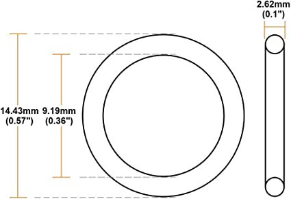 O-Rings Nitrile Rubber 9.19mm x 14.43mm x 2.62mm Round Seal Gasket 50 Pcs