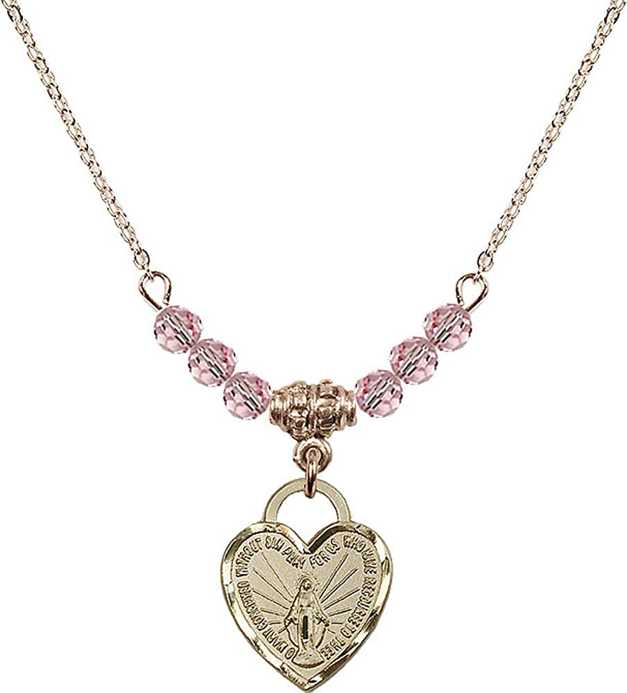 18-Inch Hamilton Gold Plated Necklace with 4mm Light Rose Birthstone Beads and Miraculous Heart Charm.
